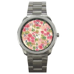Aquarelle Pink Flower  Sport Metal Watch by Brittlevirginclothing