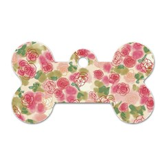 Aquarelle Pink Flower  Dog Tag Bone (one Side)