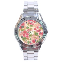 Aquarelle Pink Flower  Stainless Steel Analogue Watch by Brittlevirginclothing