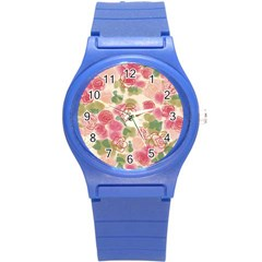 Aquarelle Pink Flower  Round Plastic Sport Watch (s) by Brittlevirginclothing