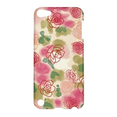 Aquarelle Pink Roses Apple Ipod Touch 5 Hardshell Case by Brittlevirginclothing