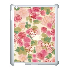 Aquarelle Pink Roses Apple Ipad 3/4 Case (white) by Brittlevirginclothing