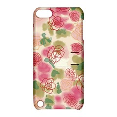 Aquarelle Pink Roses Apple Ipod Touch 5 Hardshell Case With Stand by Brittlevirginclothing