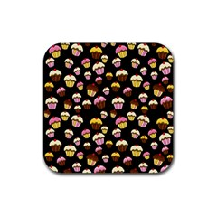 Jammy Cupcakes Pattern Rubber Coaster (square)  by Valentinaart