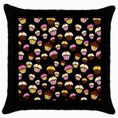 Jammy Cupcakes Pattern Throw Pillow Case (black) by Valentinaart