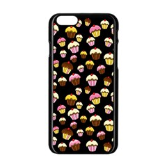 Jammy Cupcakes Pattern Apple Iphone 6/6s Black Enamel Case by Valentinaart