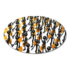 Business Men Marching Concept Oval Magnet by Jojostore