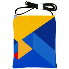 Box Yellow Blue Red Shoulder Sling Bags by Jojostore
