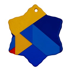 Box Yellow Blue Red Ornament (snowflake)  by Jojostore