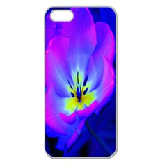 Blue And Purple Flowers Apple Seamless Iphone 5 Case (clear) by Jojostore