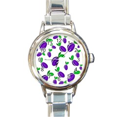 Decorative Plums Pattern Round Italian Charm Watch by Valentinaart