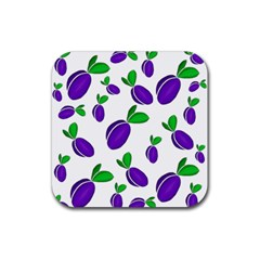Decorative Plums Pattern Rubber Square Coaster (4 Pack)  by Valentinaart