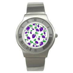 Decorative Plums Pattern Stainless Steel Watch by Valentinaart