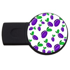 Decorative Plums Pattern Usb Flash Drive Round (4 Gb)  by Valentinaart