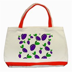 Decorative Plums Pattern Classic Tote Bag (red) by Valentinaart