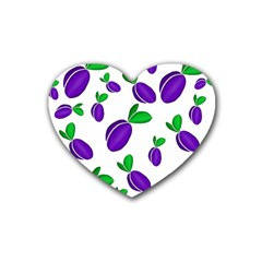 Decorative Plums Pattern Rubber Coaster (heart)  by Valentinaart