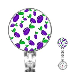 Decorative Plums Pattern Stainless Steel Nurses Watch by Valentinaart