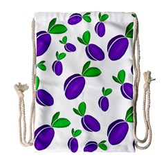Decorative Plums Pattern Drawstring Bag (large) by Valentinaart