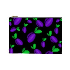 Plums Pattern Cosmetic Bag (large)  by Valentinaart