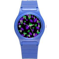 Plums Pattern Round Plastic Sport Watch (s)