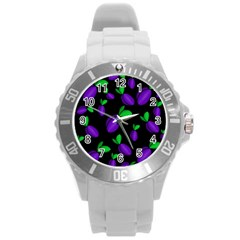 Plums Pattern Round Plastic Sport Watch (l) by Valentinaart