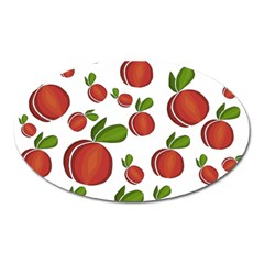 Peaches Pattern Oval Magnet by Valentinaart