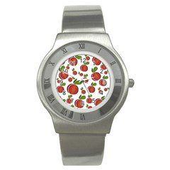 Peaches Pattern Stainless Steel Watch by Valentinaart