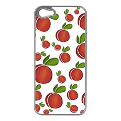 Peaches Pattern Apple Iphone 5 Case (silver) by Valentinaart
