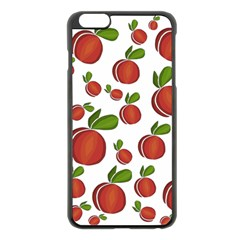 Peaches Pattern Apple Iphone 6 Plus/6s Plus Black Enamel Case