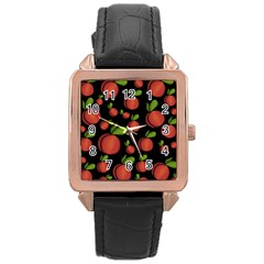Peaches Rose Gold Leather Watch  by Valentinaart