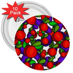 Peaches And Plums 3  Buttons (10 Pack)