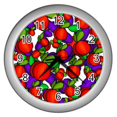 Peaches And Plums Wall Clocks (silver)  by Valentinaart