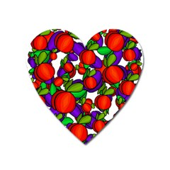 Peaches And Plums Heart Magnet by Valentinaart