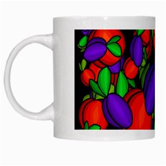 Plums And Peaches White Mugs by Valentinaart