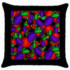 Plums And Peaches Throw Pillow Case (black) by Valentinaart