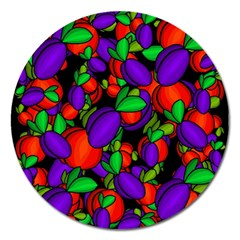 Plums And Peaches Magnet 5  (round) by Valentinaart