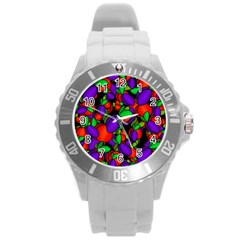 Plums And Peaches Round Plastic Sport Watch (l) by Valentinaart