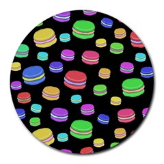 Colorful Macaroons Round Mousepads by Valentinaart