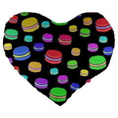 Colorful Macaroons Large 19  Premium Flano Heart Shape Cushions by Valentinaart
