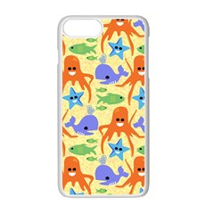 Calamari Squid Whale Apple Iphone 7 Plus White Seamless Case