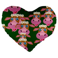 Cow Pattern Large 19  Premium Heart Shape Cushions