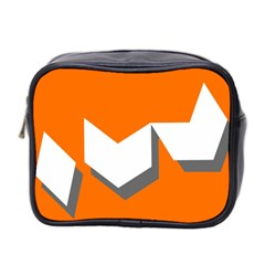 Cute Orange Chevron Mini Toiletries Bag 2 Side