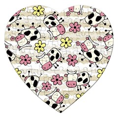 Cow Animals Jigsaw Puzzle (heart) by Jojostore