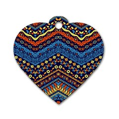 Cute Hand Drawn Ethnic Pattern Dog Tag Heart (one Side) by Jojostore