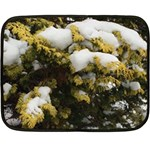 Snowy Shrub Flano Throw (with tiny kitty) 35 x27  Blanket