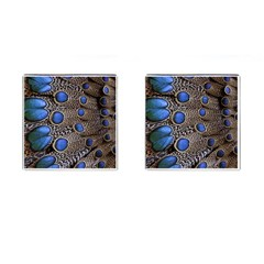 Feathers Peacock Light Cufflinks (square)