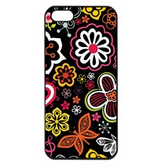 Flower Butterfly Apple Iphone 5 Seamless Case (black) by Jojostore