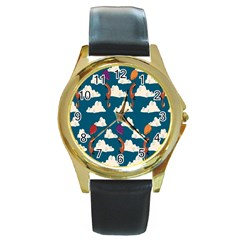 Foxfabricsmall Weasel Round Gold Metal Watch