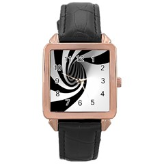 Hole Black White Rose Gold Leather Watch  by Jojostore