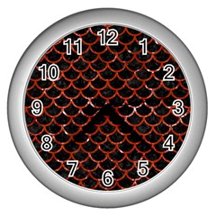 Scales1 Black Marble & Red Marble Wall Clock (silver) by trendistuff